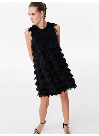 Twist Püsküllü Mini Elbise Siyah